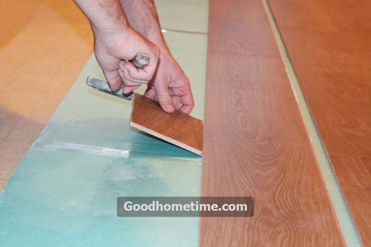 Lay the sub-layer into the sublayer and tighten the sub-layer sheets with screws driving into the sub-flooring. Leaving a gap of ¼ inch less than L/360