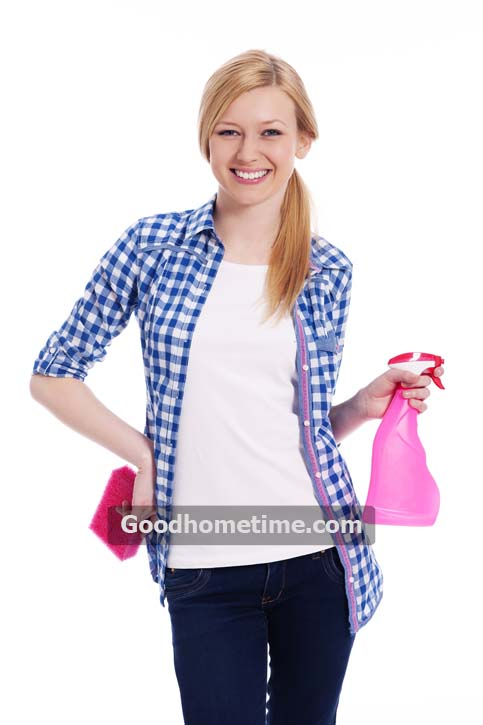 blonde-female-cleaner-holding-a