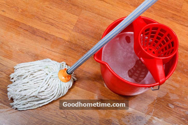After using the microfiber mop, the laminate floor should look a bit damp, but not entirely wet. Also, using a sponge on the floor can leave streaks and excessive moisture on the floor
