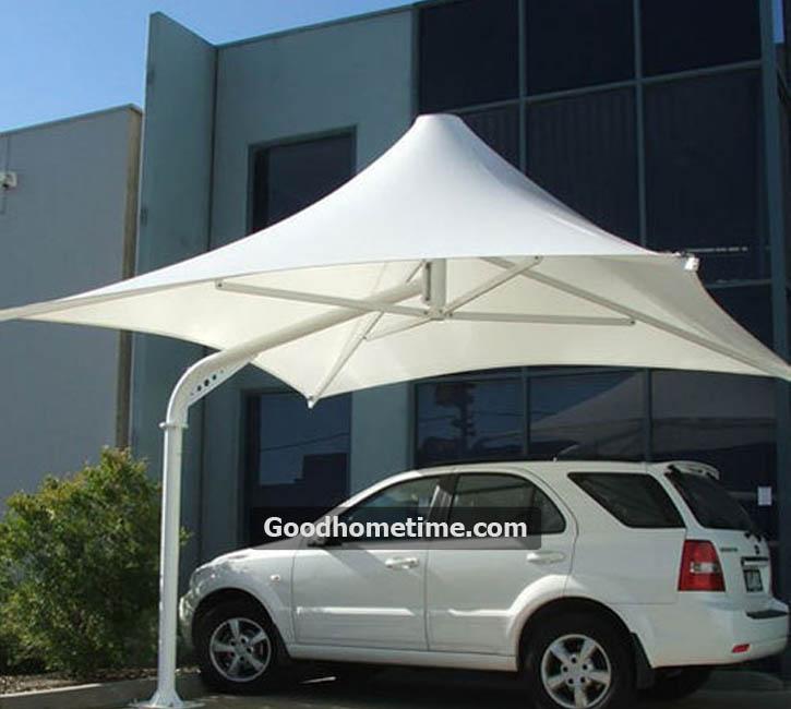 Single pole umbrella shaped tensile structure