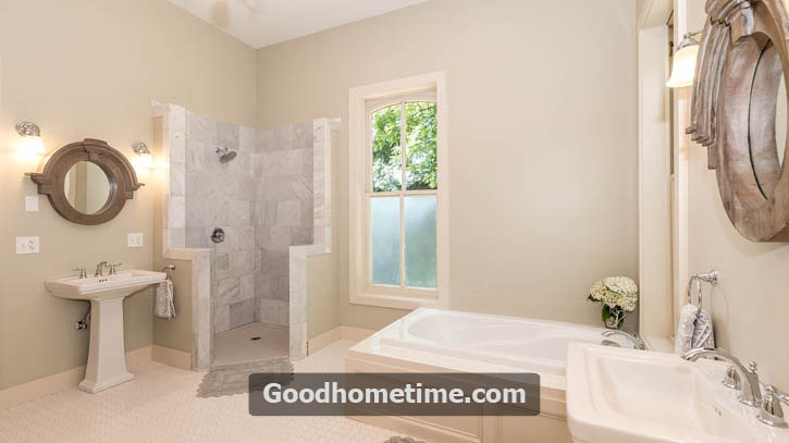 To reduce the slippery surface of the tub, consider applying anti-slip bathtub coating. A floor-to-ceiling grab bar can be a helpful safety feature for seniors who choose to switch from baths to showers.
